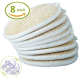 Exfoliating Loofah Sponge Pads (Pack of 8) - Large 4x6 - 100% Natural Luffa and Terry Cloth Materials Loofa Sponge Scrubber Body Glove - Men and Women