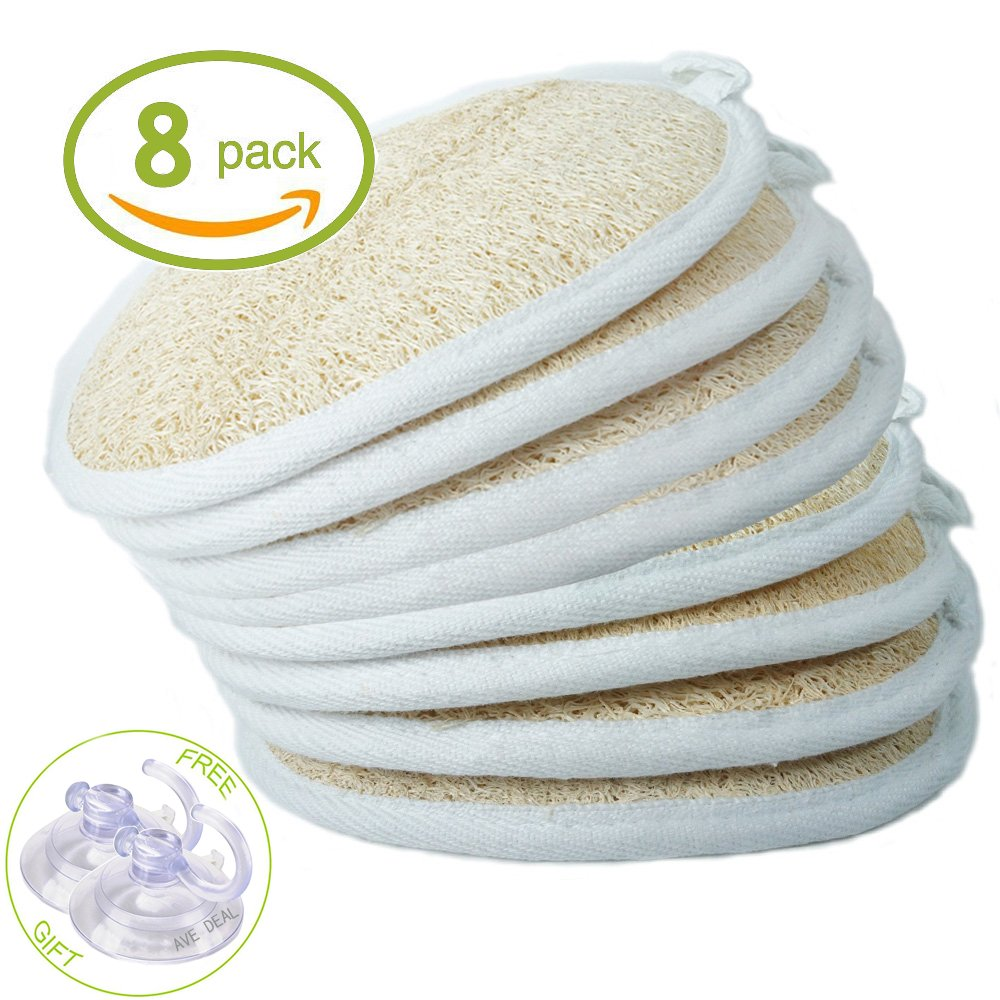 Exfoliating Scrubber Exfoliating Loofah Sponge Pads (Pack of 8) - Large 4x6-100% Natural Luffa and Terry Cloth Materials Loofa Sponge Scrubber Body Glove - Men and Women Loofah-08