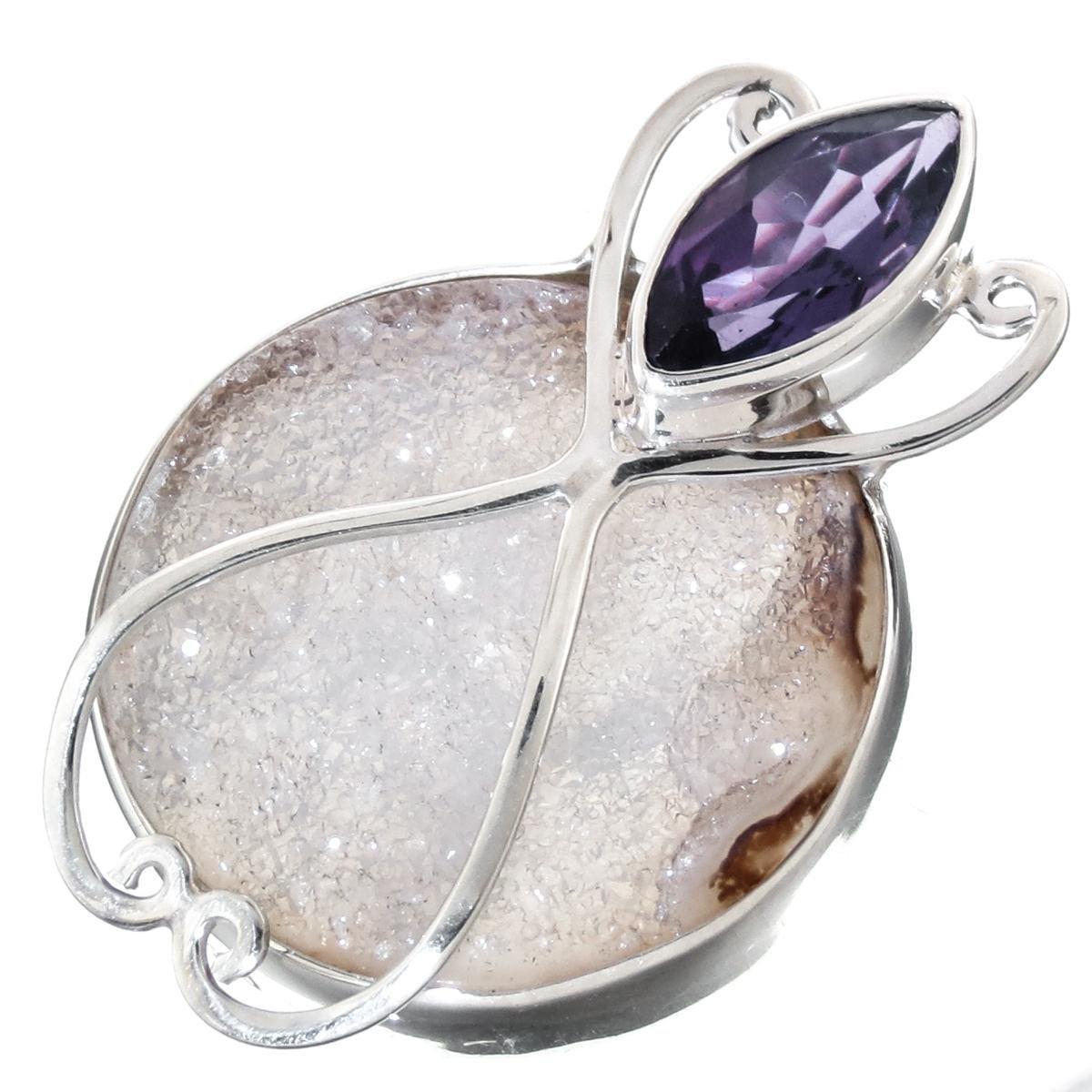 1 3//8 Amethyst Agate Druzy 925 Sterling Silver Sliding Pendant