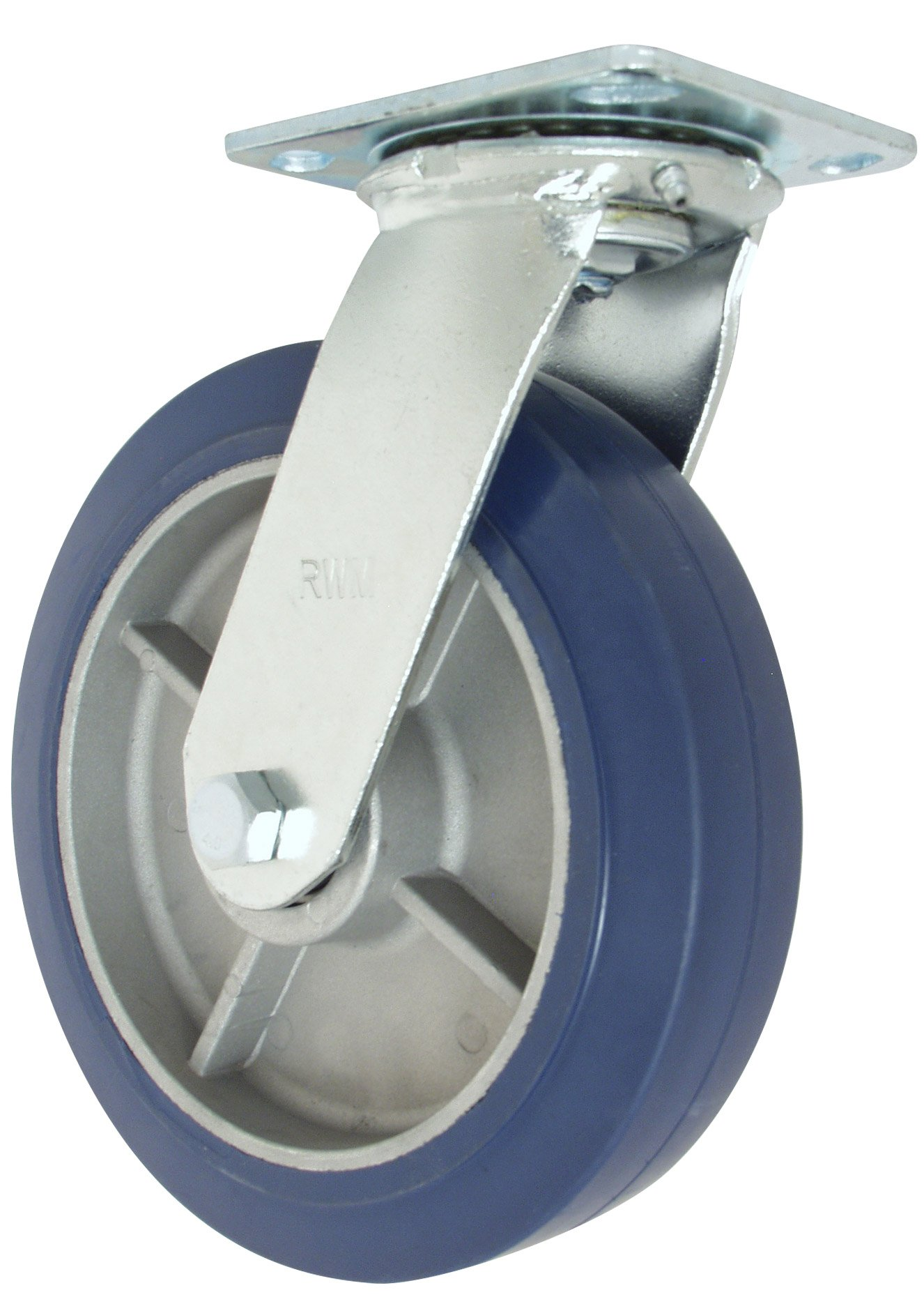 RWM Casters 45 Series Plate Caster, Swivel, Rubber on Aluminum Wheel, Ball Bearing, 750 lbs Capacity, 8'' Wheel Dia, 2'' Wheel Width, 9-1/2'' Mount Height, 4-1/2'' Plate Length, 4'' Plate Width