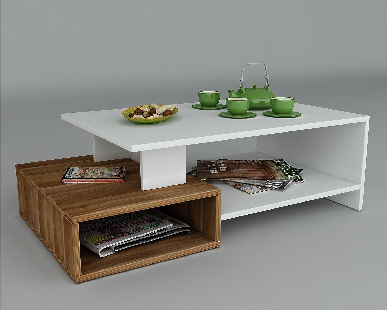 Homidea DUX Couchtisch - Weiß Nussbaum - Moderner Wohnzimmertisch in trendigem Design mit Ablagefläche Holzwerkstoff