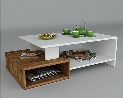 DUX Tavolino basso da salotto - Bianco / Noce - materiale in legno ...