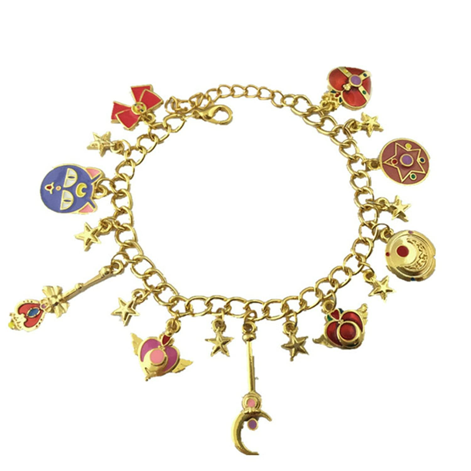 Blue Heron Sailor Moon 9 Logo Charms Lobster Clasp Bracelet w//Gift Box