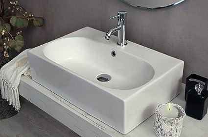 Yellowshop   Lavabo Da Appoggio Cm 60 X 40 Bacinella Lavandino Lavello  Rettangolare In Ceramica Bianco