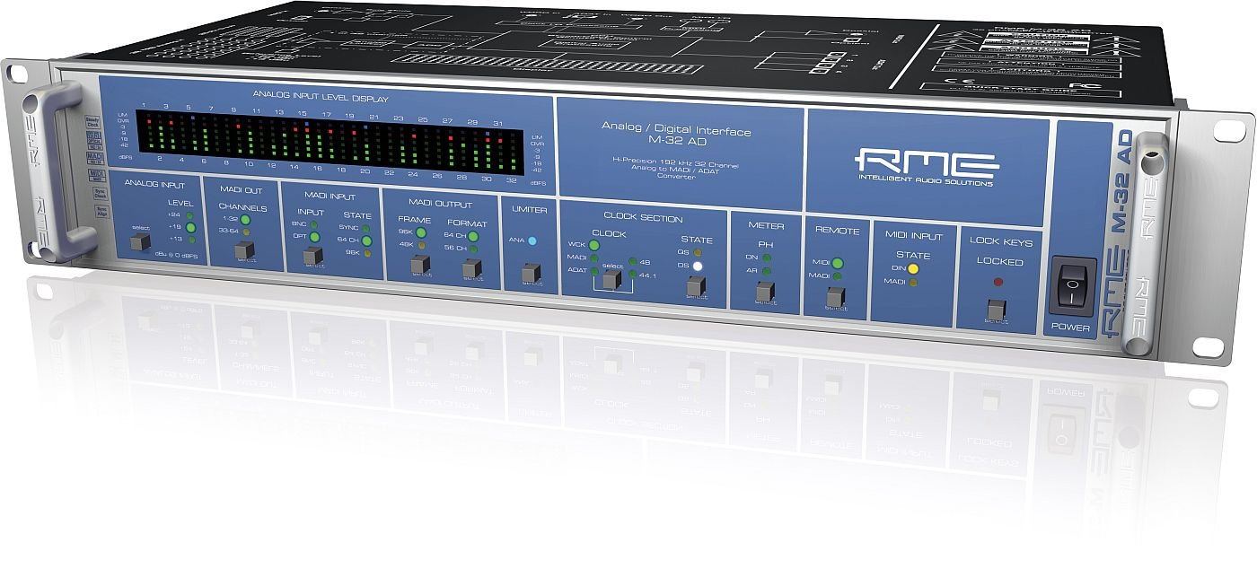 RME | Fully Symmetrical Designed 32-Channel High-End Analog to MADI/ADAT Converter M-32 AD with MADI Technology Capable of 64 Channels (M-32 AD)