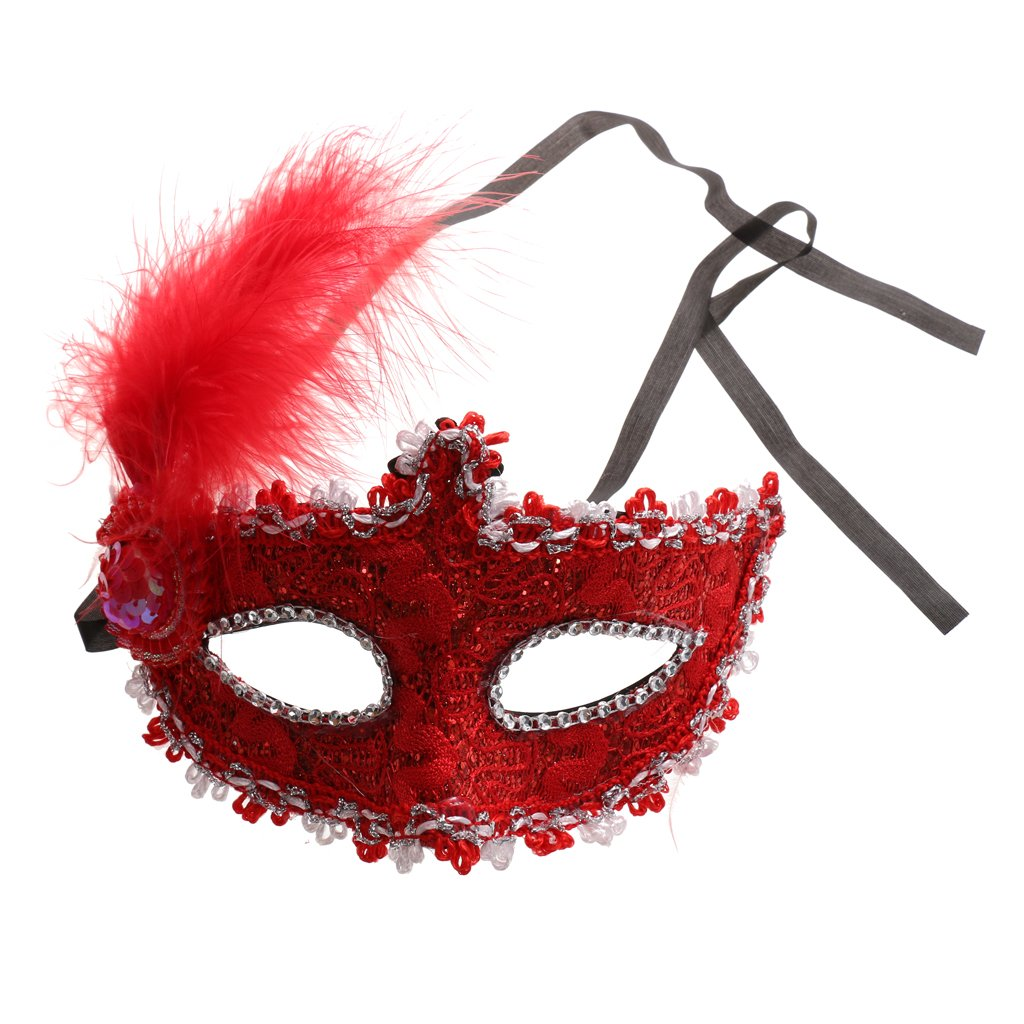 MagiDeal Fancy Dress Feather Lace Eye Mask Masquerade Halloween Party Costume - Black