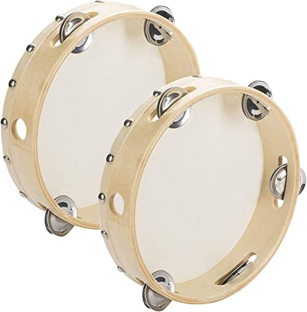 Tosnail 2 Pack 8″ Wood Handheld Tambourine – Single Row 5 Pairs Jingles