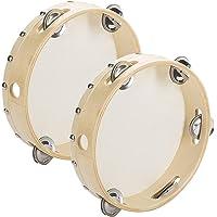 """Tosnail 2 Pack 8"""" Wood Handheld Tambourine - Single Row 5 Pairs Jingles"""