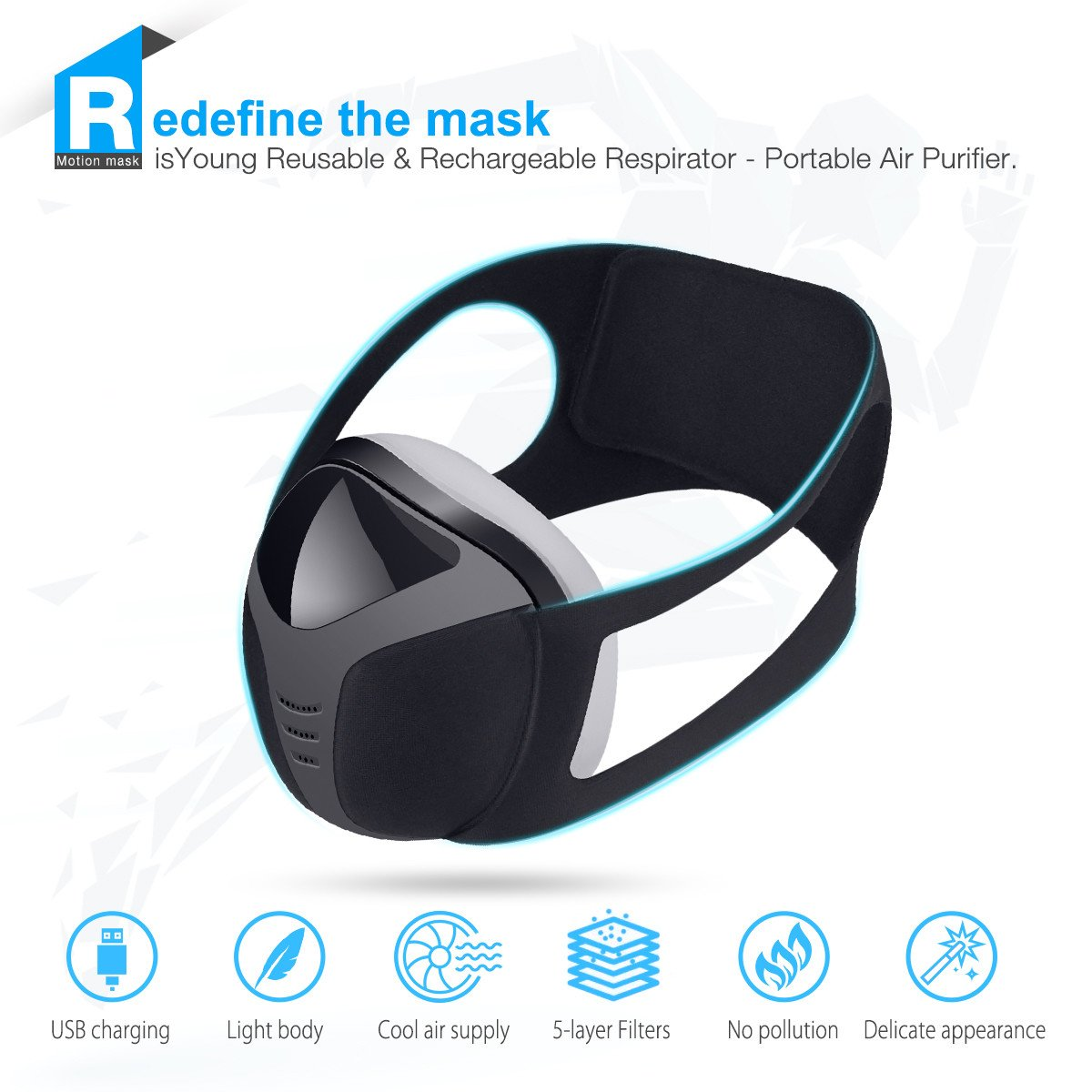 isYoung Dustproof Mask Mask Safety Respirators Workout Mask USB Reusable Workout Oxygen Mask, Perfect for PPE, Home Improvement, DIY and Gym, Running