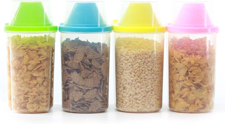 4 contenitori per cereali con misurino 4 X Medium 1.9L in colori diversi