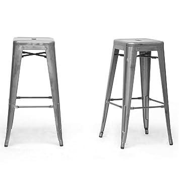 baxton studio french industrial modern bar stool gunmetal 1625inch set of