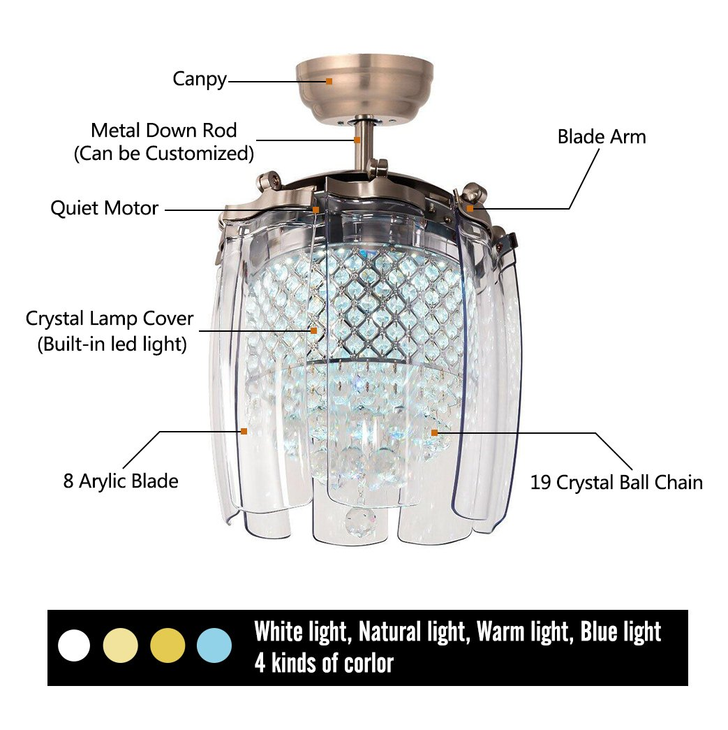 Luxurefan Modern Crystal Ceiling Fan Lamp for Living Room Restaurant with 8 Foldable Transparent Acrylic Leaves with Invisible Take-Off Remote Chandeliers of Sand Nickel 42 Inch by Luxure Fan (Image #7)