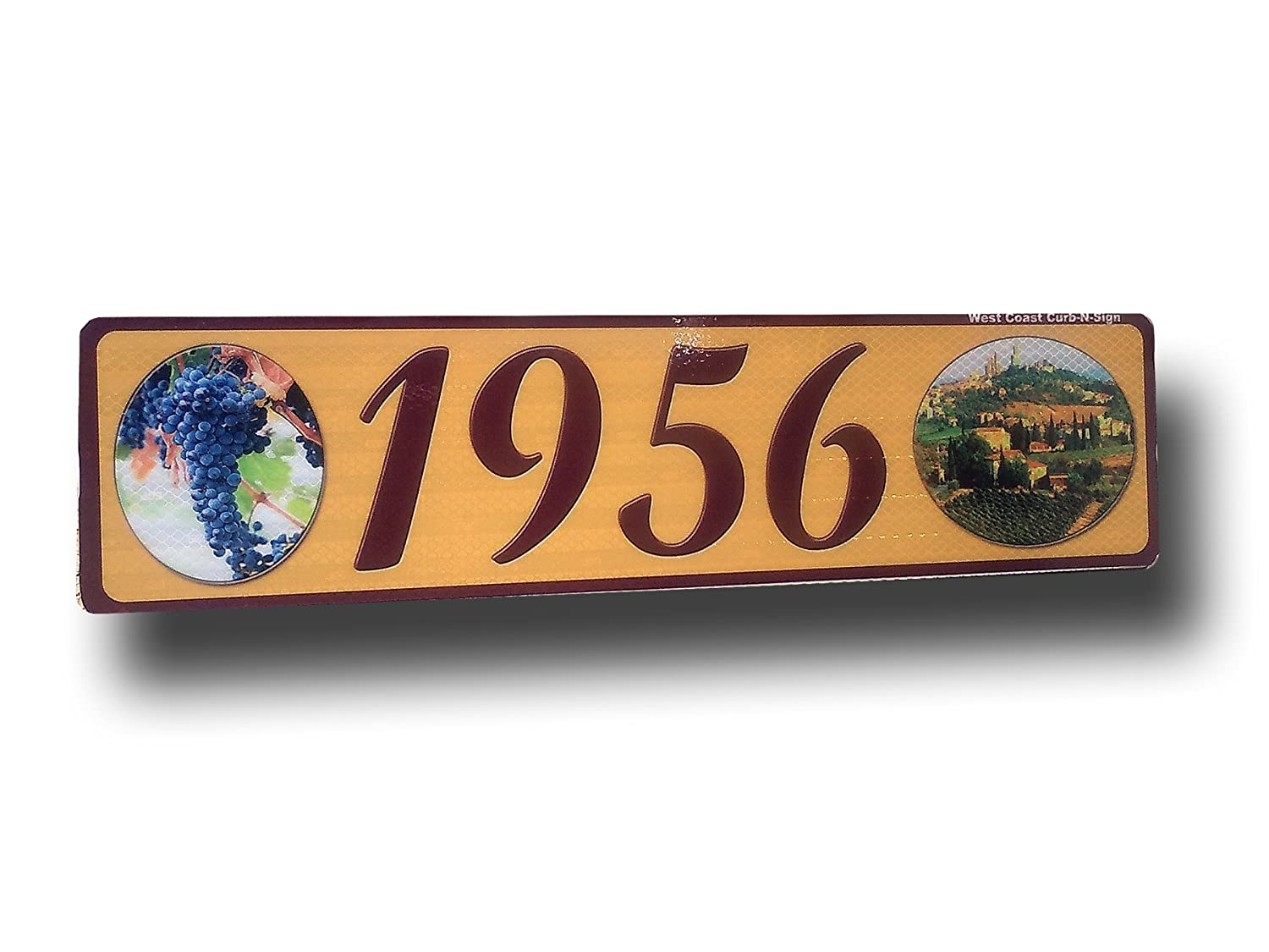 Wine, Grapes, Curb, Mailbox, House Address Plaque, Reflective West Coast Curb-N-Sign