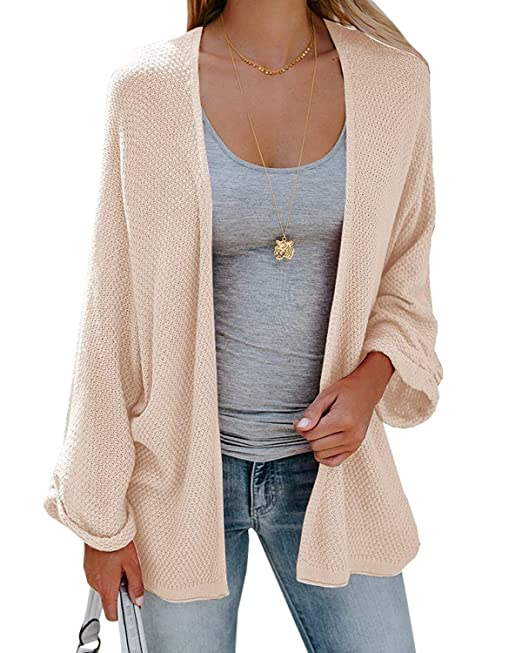 69c68e4f6f2 Umeko Womens Cardigans Casual Knit Open Front Lightweight Long Boyfriend Cardigan  Sweaters at Amazon Women s Clothing store