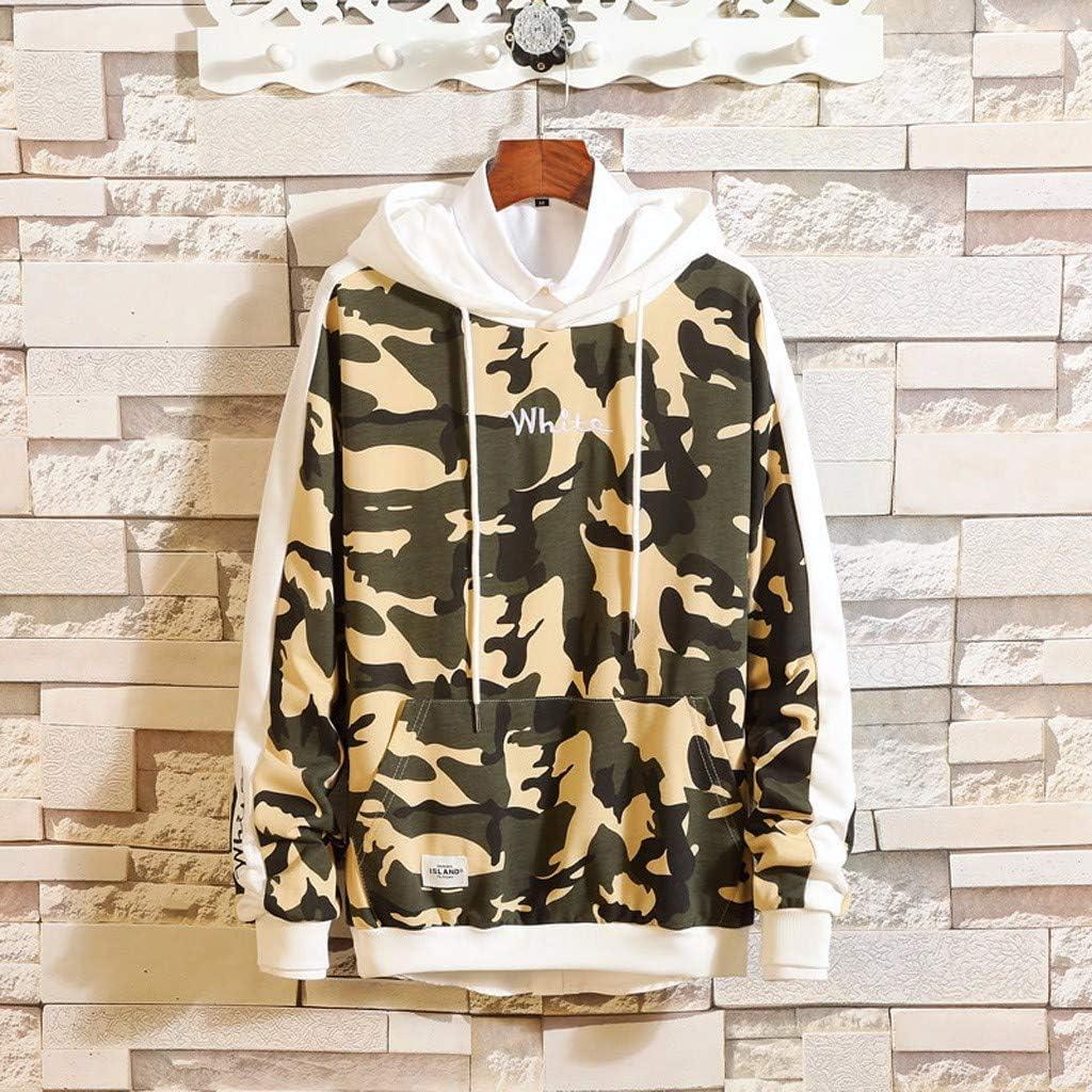 Coersd Men Casual Fashion Camouflage Printing Hoodie Long Sleeves Sweatershirt Tops