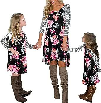 Loalirando Madre e Hija Vestido impresión Floral Vestidos Familia Manga Larga Vestido niña Princesa/Vestidos Mujer Elegantes otoño Primavera
