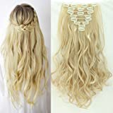"""17"""" 23"""" Full Head Clip in Hair Extensions Straight Curly Wavy Hair Extension 8Piece 18Clips"""