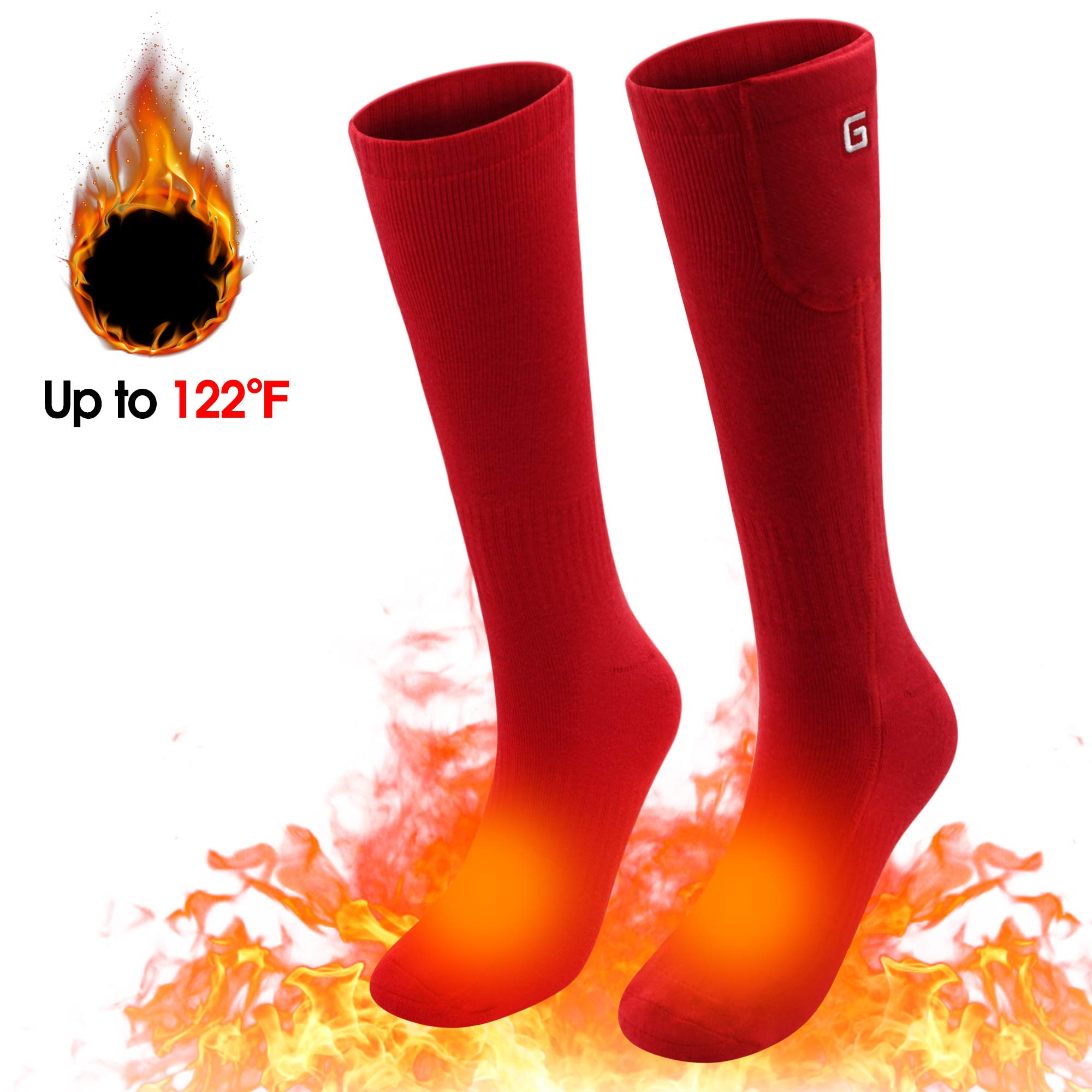 Spring Heated Socks,3.7V 2200MAH Electric Rechargeable Battery Heating Socks for Men Women Warm Cotton Socks Foot Warmer Hot Feet (Red) by Unknown