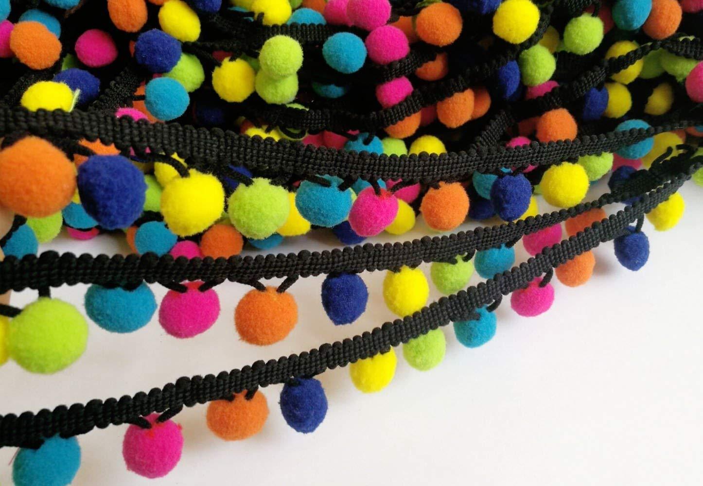 12mm Pom Pom /& Adorno del grano Multicolor-Por Metro