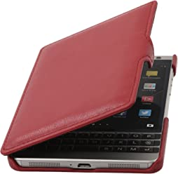 StilGut Book Type Case, Custodia in Pelle a Libro con Clip per Blackberry Passport Silver Edition, Rosso Nappa