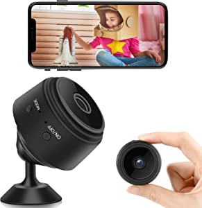 Mini Spy Camera with Audio, WiFi Wireless Hidden Video Camera 1080P HD Home Security Cams with Cell Phone App Recording, Portable Tiny Nanny Cam with IR Night Vision for Indoor Outdoor