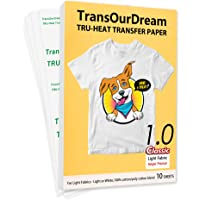 """TransOurDream Tru-Iron on Heat Transfer Paper for Light Fabric (10 Sheets, 8.5x11"""") Iron-on Transfers Paper for White…"""