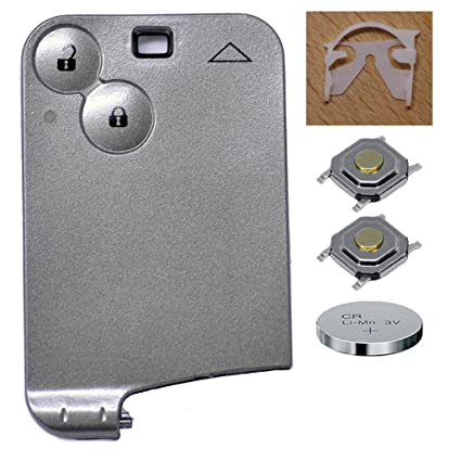 Auto Llave Mando a distancia 1 x llaves-tarjeta Carcasa 2 Botones + 1 x CR1620 batería + 2 x mikrotaster para Renault