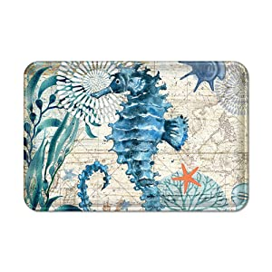 Uphome Memory Foam Bathroom Rugs Vintage Summer Ocean Collection Sea Horse on Nautical Map Flannel Microfiber Bath Mat Non-Slip Soft Absorbent Bath Rug Kitchen Floor Carpet, 16x24
