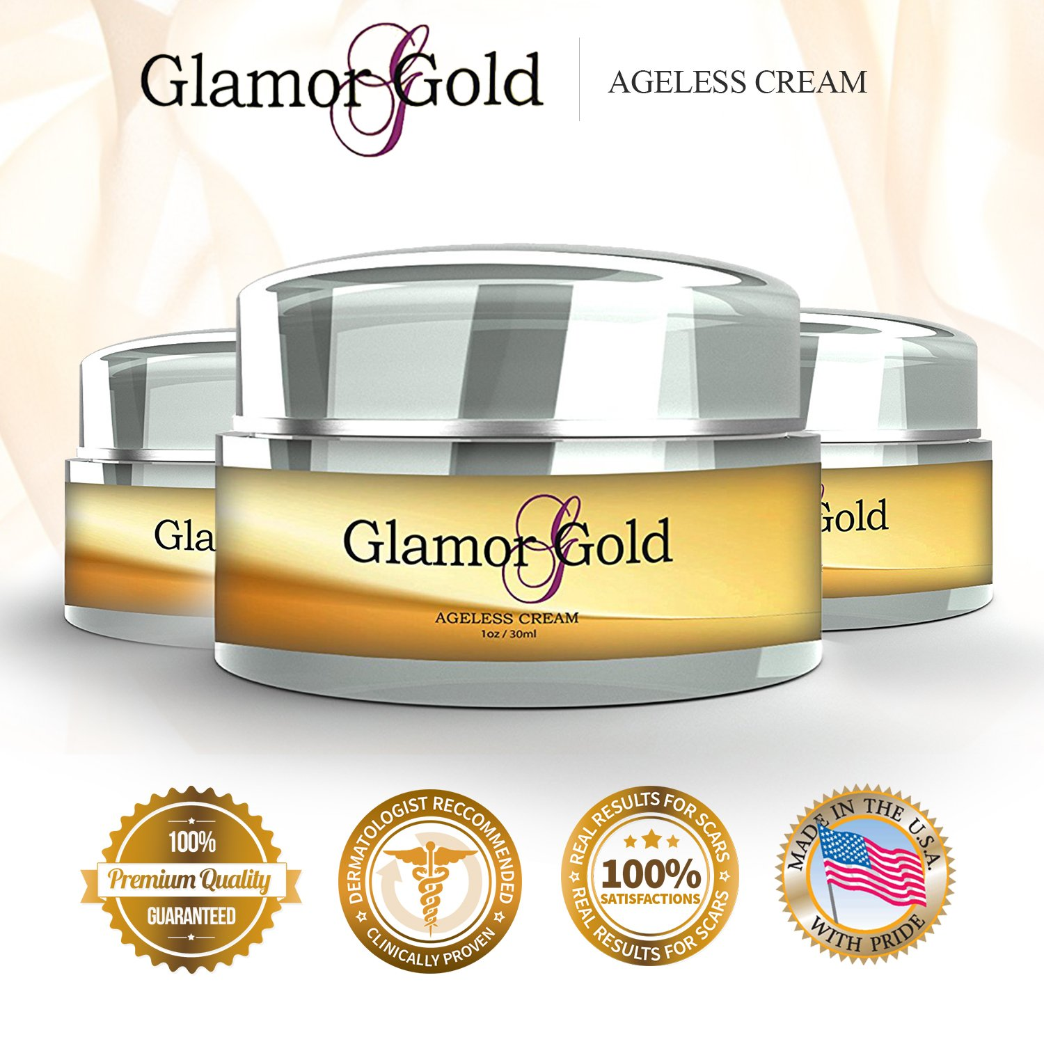 Glamor Gold Ageless Cream- Anti-Aging Skincare for Fine Lines and Wrinkles – Collagen Production