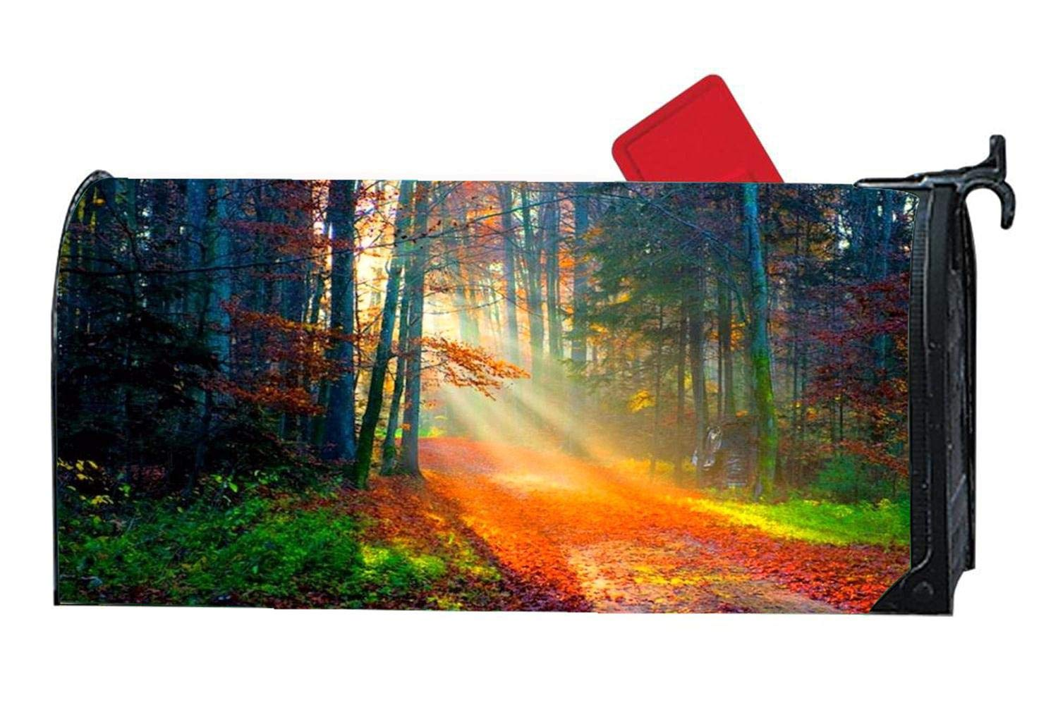 Autumn Magnetic Mailbox Cover Mailwrap, All Weather Vinyl, Standard Size 6.5'' x 19'' for Metal/Steel Mailboxes - Autumn Forest Sunlight