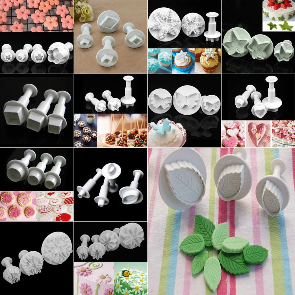 Fondant Sugarcraft Cake Decorating Icing Plunger Cutters baking Tools Mold Set - 3pcs Maple Leaf Cutter