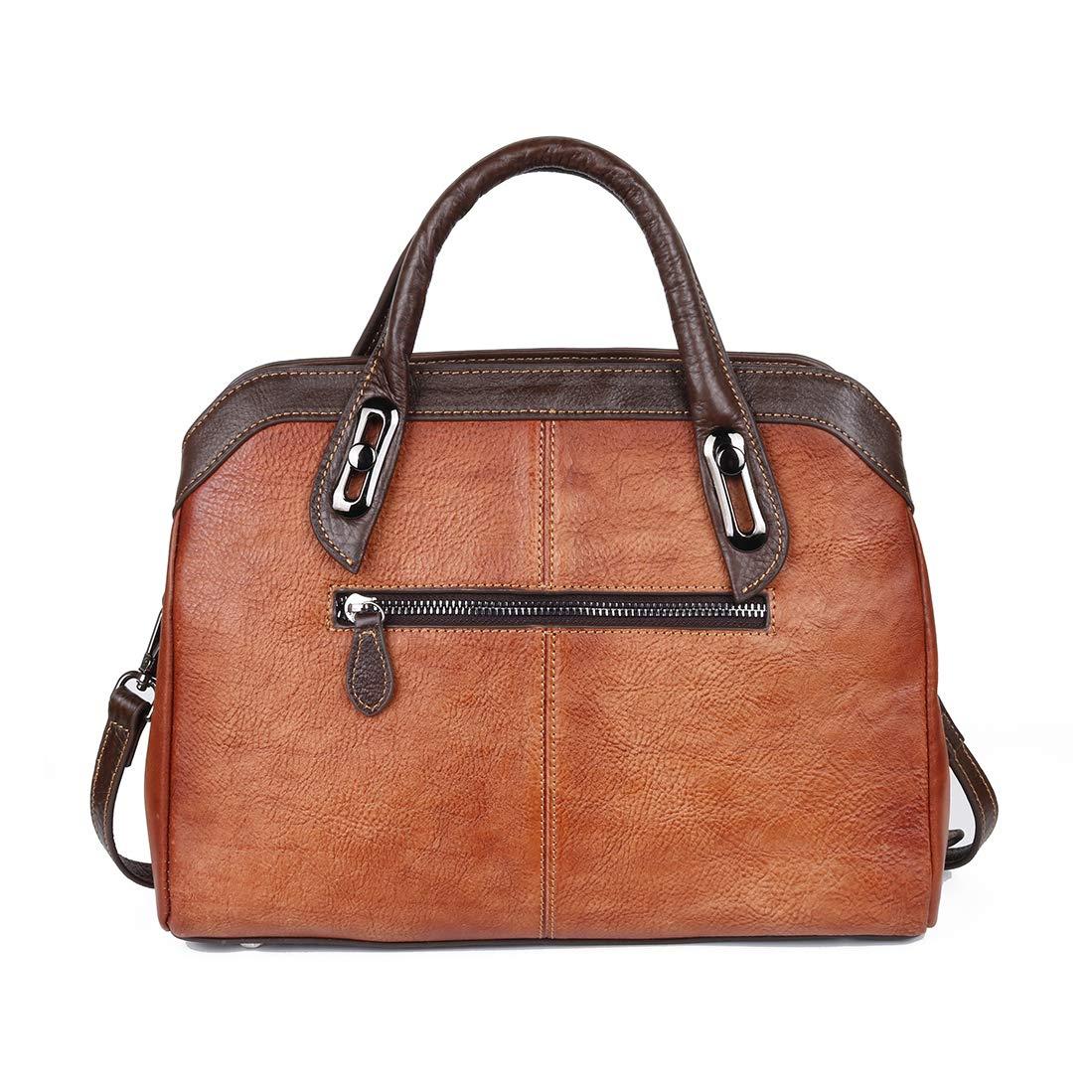 shengweiao dam äkta läder vintage axelväska handväskor och handväskor Rödbrunt