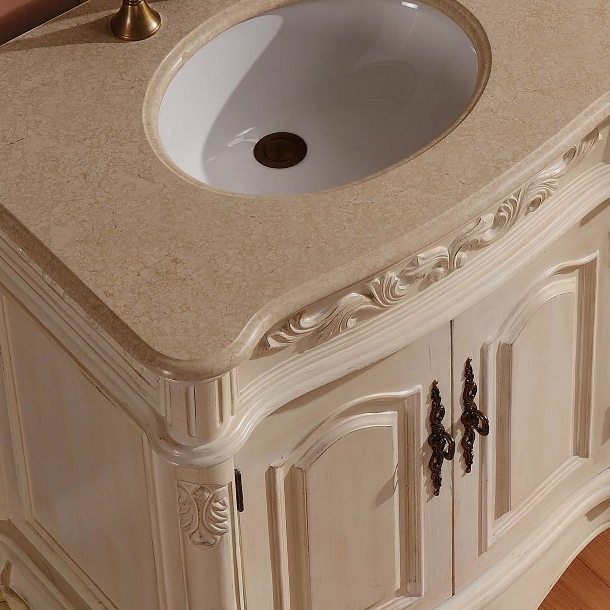Silkroad Exclusive Countertop Marble Stone Double Sink Bathroom Vanity with Cabinet, 72-Inch by Silkroad Exclusive (Image #5)