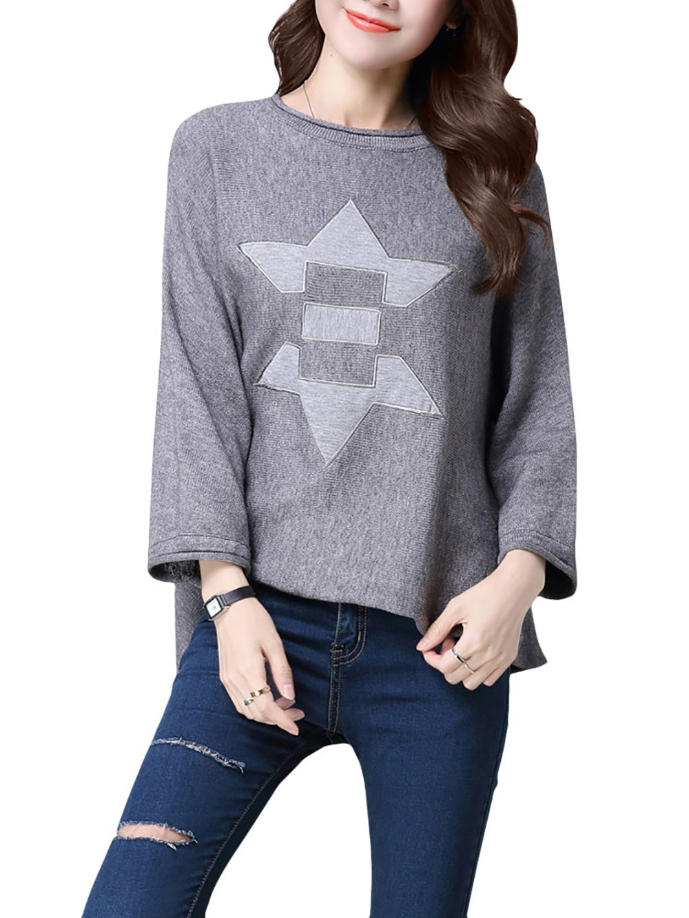 Fabchic Casual Women 3/4 Sleeve Printed Loose Knit Pullover Sweater