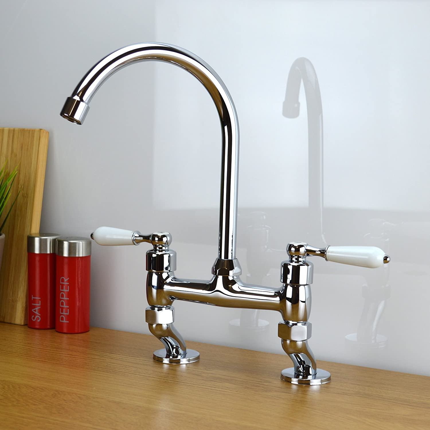 Classic Traditional White Lever Bridge Tap Kitchen Sink Mixer Tap ...