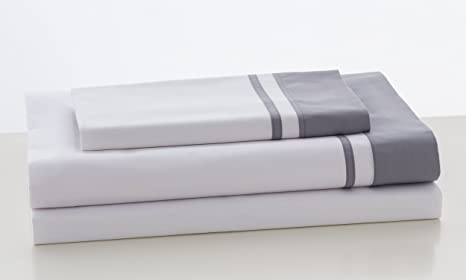 ESTELA - Juego de sábanas Lisos Marbella Color Acero - Cama de 90 cm (3