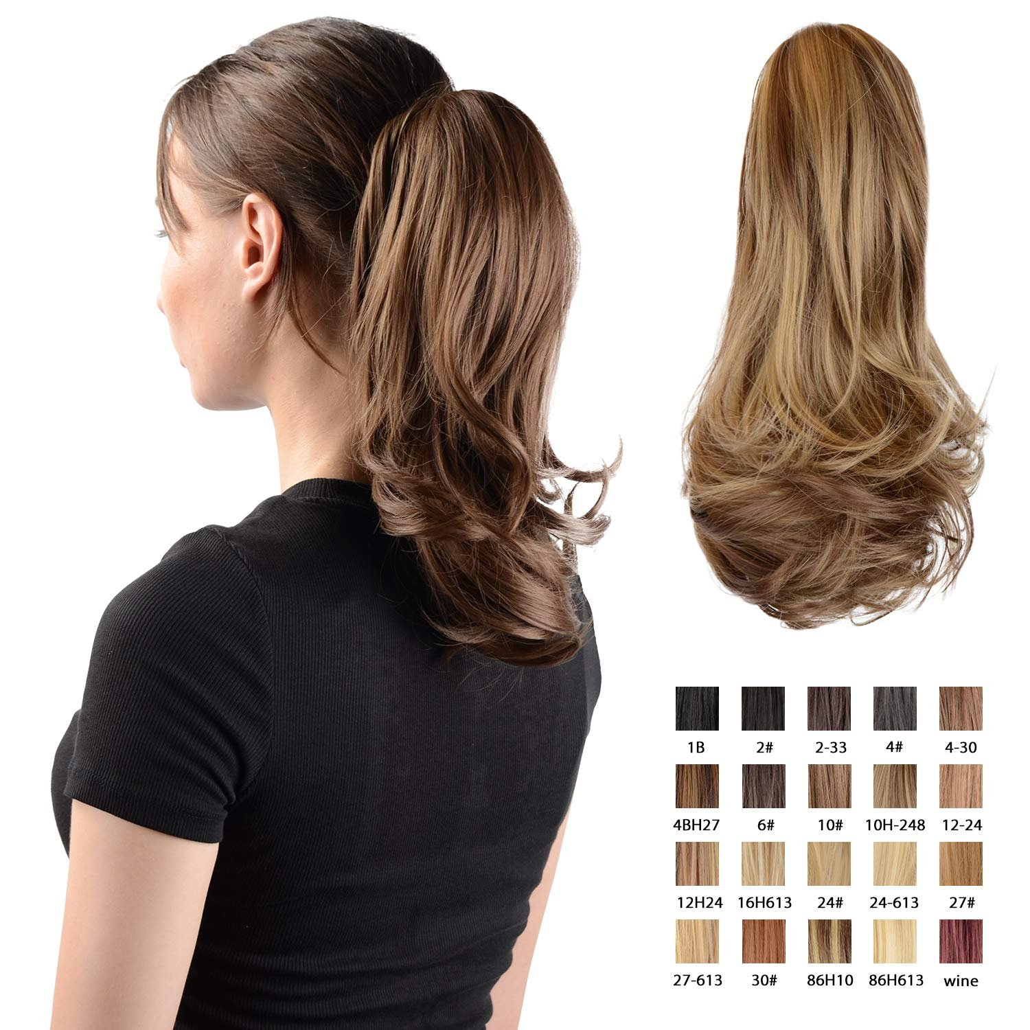 Sofeiyan 13'' Ponytail Extension Long Curly Ponytail Clip in Claw Hair Extension Natural Looking Synthetic Hairpiece for Women (Golden Brown & Light Blonde) by Sofeiyan