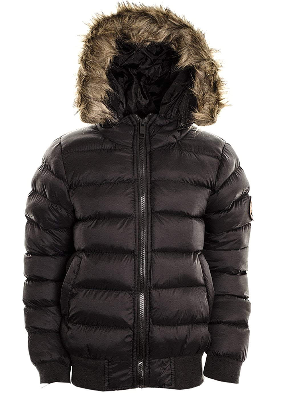 Fuchia boutique Boy's Puffer Jacket Coat Faux Fur Hooded Bommer Padded Quilted Winter Jacket.