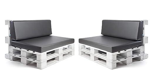 Conjunto colchonetas para sofas de palet y respaldos (2 x Unidades) Cojin relleno con espuma. Color Ceniza | Cojines para chill out, interior y ...