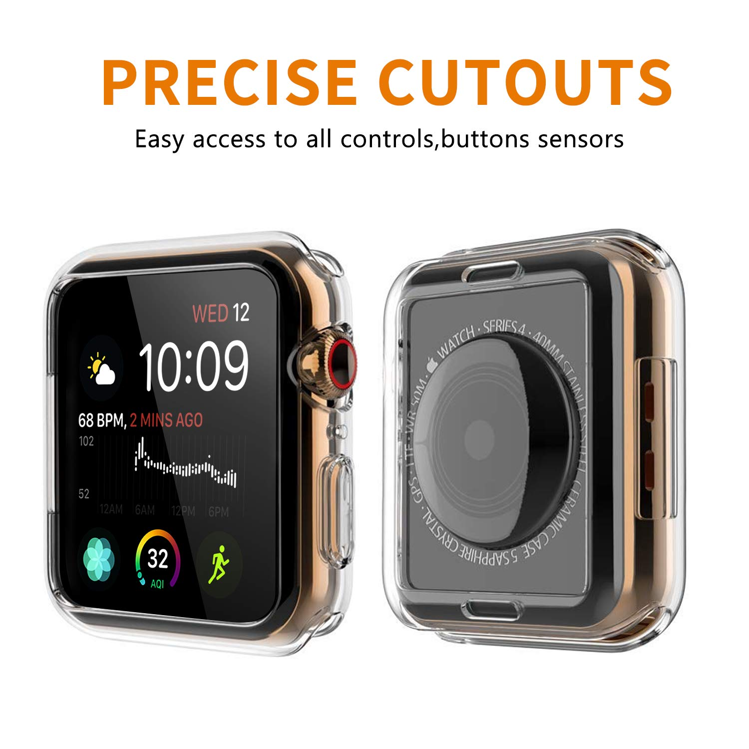 VODKE Compatible with Apple Watch Case Series 4 44mm, Soft TPU Watch Bumper Case Cover Protector Compatible with iWatch Series 4 by VODKE (Image #2)