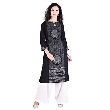 010702c912d Indian Designer Women's Rayon Kurti White Palazzo Set,Indian Bollywood Black  Printed kurta,kurti