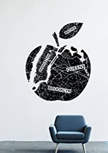 Wall Decals Decor Vinyl New York City Meps Big Apple Bronx Fruit Manattan Queens Brooklyn GMO0686