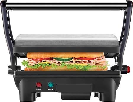 Chefman Panini Grill à pression, et Gourmet appareil à croque monsieur avec revêtement antiadhésif Assiettes, s'ouvre à 180 degrés pour s'adapter à