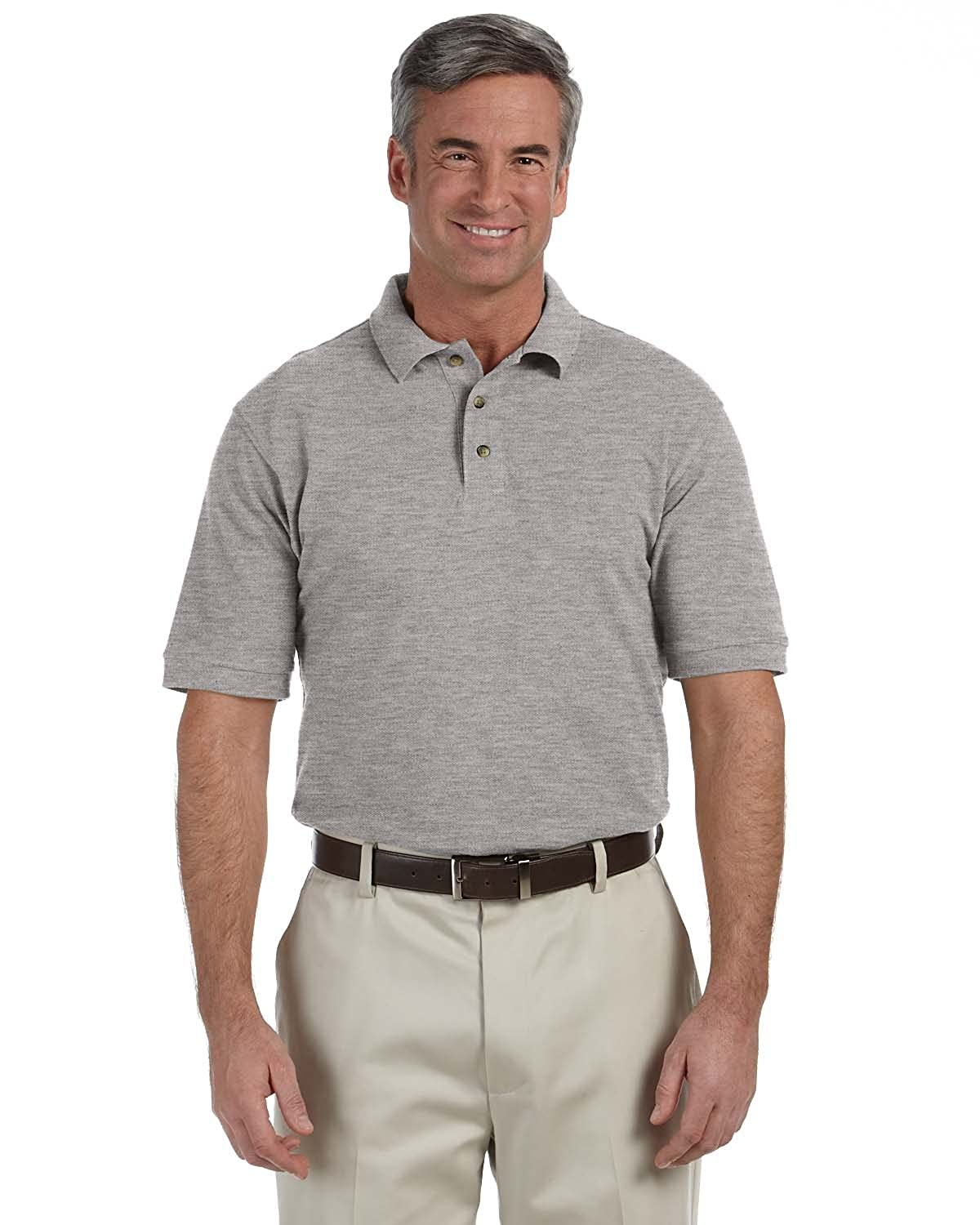 M200 Harriton Mens 6 oz GREY HEATHER Ringspun Cotton Piqu/é Short-Sleeve Polo