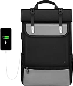 Expandable Roll Top Laptop Backpack, FINPAC Anti-Theft Daypack for Travel Work (Silver)