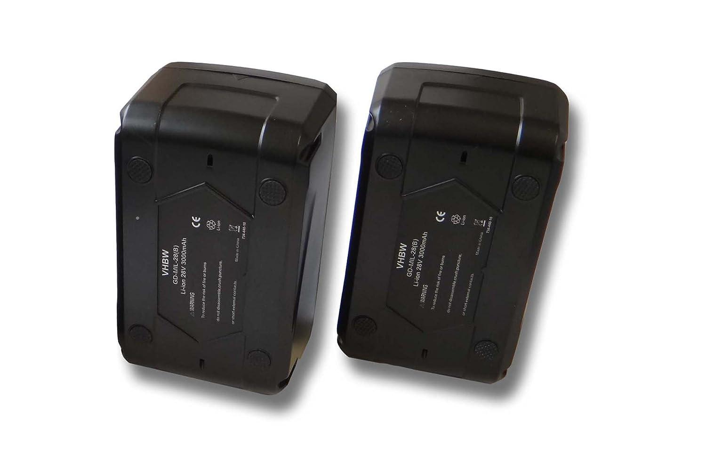 vhbw Sparset 2x Li-Ion Akku 3000mAh (28V) für Werkzeuge Milwaukee V28 IW Akku-Schlagschrauber etc. wie 48-11-1830, 48-11-2830, 48-11-2850.