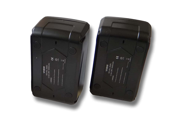 vhbw Sparset 2x Li-Ion Akku 3000mAh (28V) für Werkzeuge Milwaukee 4933416345 C 12-28 DCR, 0 Akku-Radio wie 4932352732.
