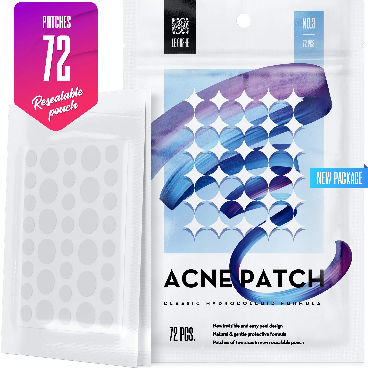 Acne Pimple Master Patch 72 dots - Absorbing Hydrocolloid Blemish Spot Skin Treatment and Care Dressing by Le Gushe