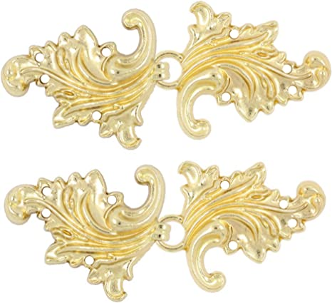 Bezelry 4 Pairs Asymmetric Acanthus Leaf Cape or Cloak Clasp Fasteners Vintage Black Sew On Hooks and Eyes Cardigan Clip 66mm x 28mm Fastened