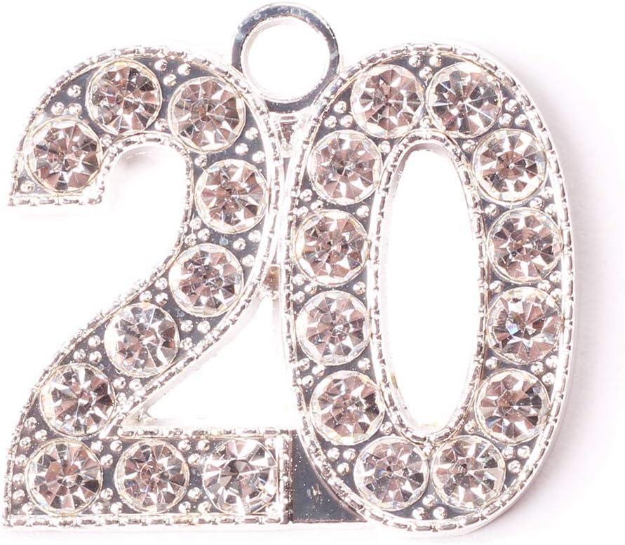 Graduation Rhineston Silver 20 Year Charm for Graduation Tassel